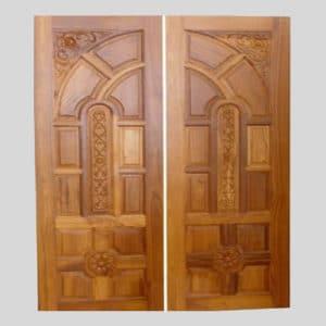 Glossy Teak Wood Double Door